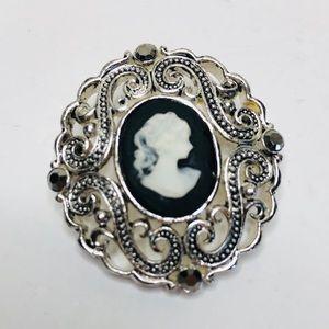 Vintage Victorian Style Cameo Brooch Silver Tone